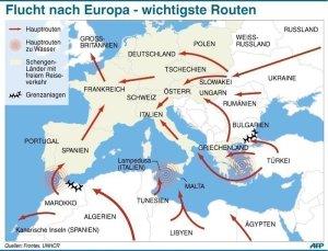 Flüchtlinge-Routen-Mittelmeer-Europa-QuelleFrontex1
