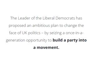 Großbritannien-Liberale LiberalDemocrats-Bewegung werden